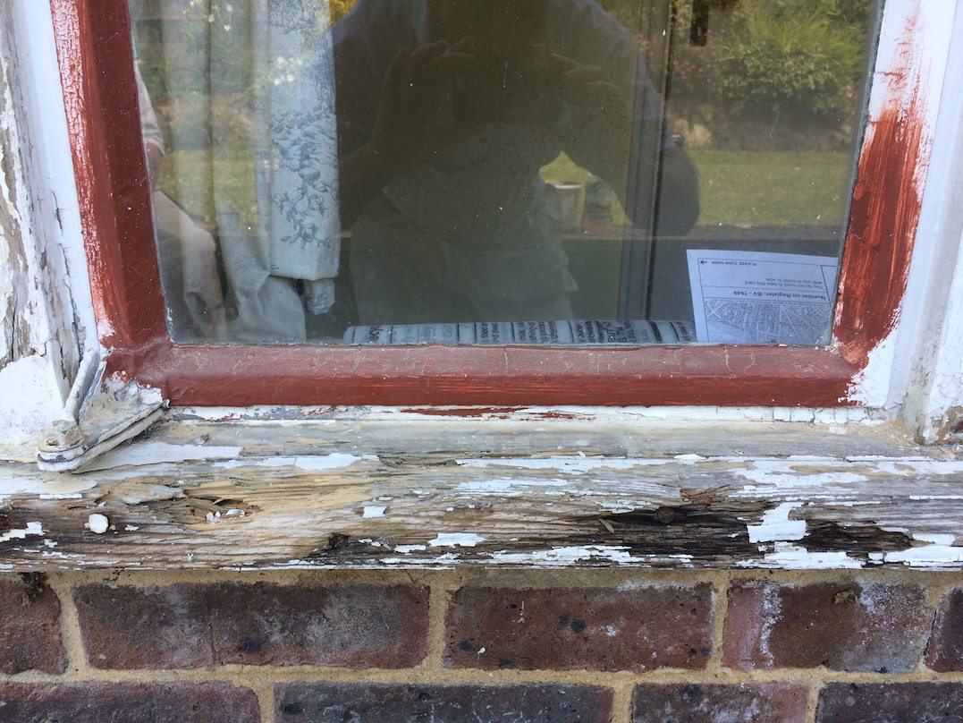 repaired window frame